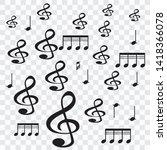 different music symbols... | Shutterstock .eps vector #1418366078