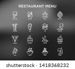 restaurant menu thin line icons ... | Shutterstock .eps vector #1418368232