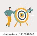 cartoon man holding dart board... | Shutterstock .eps vector #1418390762