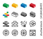 toy brick and toy block icon... | Shutterstock .eps vector #1418418455