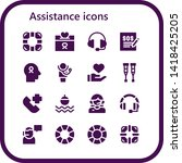 assistance icon set. 16 filled... | Shutterstock .eps vector #1418425205
