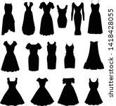 set of black vector silhouettes ... | Shutterstock .eps vector #1418428055