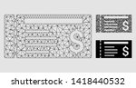mesh dollar cheque model with... | Shutterstock .eps vector #1418440532