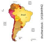 map of latin america. raster... | Shutterstock . vector #141844942
