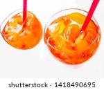 glass of sparkling spritz... | Shutterstock . vector #1418490695