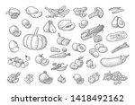 set vegetables and fruits.... | Shutterstock .eps vector #1418492162