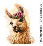 lama alpaca. sticker on the... | Shutterstock .eps vector #1418508908