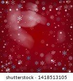 blue realistic snowfall  vector.... | Shutterstock .eps vector #1418513105