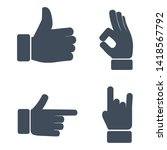 hand icon set isolated on white ... | Shutterstock .eps vector #1418567792
