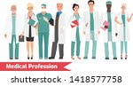 set of medical profession... | Shutterstock .eps vector #1418577758