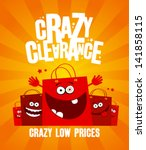 funny shopping bags  crazy... | Shutterstock .eps vector #141858115