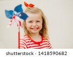 Little Girl Wearing Red White...