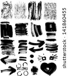 set of grunge textures and... | Shutterstock .eps vector #141860455