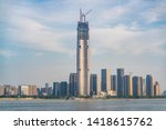 Wuhan skyline and Yangtze river with supertall skyscraper under construction in 2019 in Wuhan Hubei China