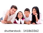happy family smiling   isolated ... | Shutterstock . vector #141863362