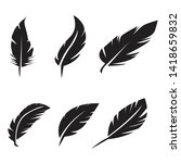 black feather icons set on... | Shutterstock . vector #1418659832