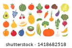 sticker for kids. fruit and... | Shutterstock .eps vector #1418682518
