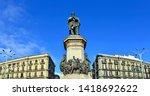 Giuseppe Garibaldi Monument on the eponymous square in Naples, Italy.