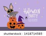 happy halloween party... | Shutterstock .eps vector #1418714585