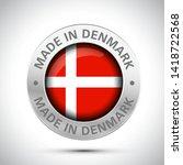 made in denmark flag metal icon  | Shutterstock .eps vector #1418722568