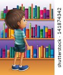 illustration of a boy searching ... | Shutterstock .eps vector #141874342