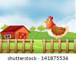 illustration of a hen at the... | Shutterstock .eps vector #141875536