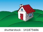 hand drawn simplistic house in... | Shutterstock . vector #141875686