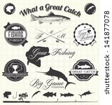 vector set  gone fishing labels | Shutterstock .eps vector #141877078