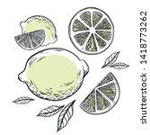 illustration with lemon  lemon...   Shutterstock .eps vector #1418773262