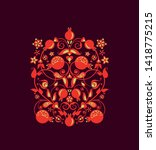 beautiful floral ethnic red...   Shutterstock .eps vector #1418775215