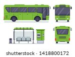 flat city bus. public transport ... | Shutterstock .eps vector #1418800172