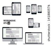 responsive web design    glossy ... | Shutterstock .eps vector #141880576