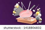 the pan is cooking  surrounded...   Shutterstock . vector #1418806832