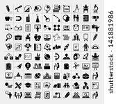 100 education icons set  back... | Shutterstock .eps vector #141881986