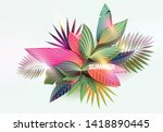 stylized tropical leaves.... | Shutterstock .eps vector #1418890445