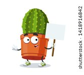 Cartoon Joyful Cactus Plant In...