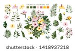 Stock vector set of tropical exotic flowers frangipani hibiscus calla green monstera palm leaves floral 1418937218