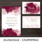 stylish burgundy red watercolor ... | Shutterstock .eps vector #1418989862