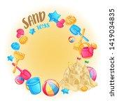 round frame of beach toys for... | Shutterstock .eps vector #1419034835