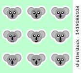 set of koala stickers.... | Shutterstock . vector #1419086108