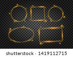 golden frame with lights... | Shutterstock . vector #1419112715