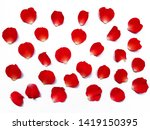 Stock photo red rose petals flower pattern retouch on white background 1419150395