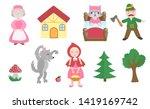 cute little red riding hood set ... | Shutterstock .eps vector #1419169742