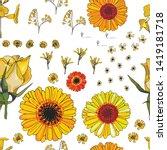 yellow flower set pattern... | Shutterstock .eps vector #1419181718
