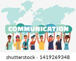 group of young people with...   Shutterstock .eps vector #1419269348