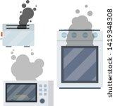 fire on stove. burning... | Shutterstock .eps vector #1419348308