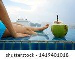 woman wearing blue swimming...   Shutterstock . vector #1419401018