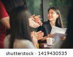 asian freelance team meeting... | Shutterstock . vector #1419430535