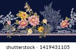 seamless flower border on navy  | Shutterstock .eps vector #1419431105