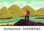 man hiker  stands on top and... | Shutterstock .eps vector #1419489362